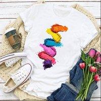 Frauen T-shirts Grafische Farbstreifen Vogue Make-up Mode Finger Nagel Sommer Hemd Tops Lady Damen Kleidung Kleidung T-Stück