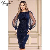 Seksi Vintage Glitter Uzun Kollu Pullu Yaz Elbise Kadınlar Kulübü PARY ES Sonbahar Ofis Bodycon Kadın Giyim Vestidos 210611