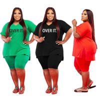 Plus Size Donne Donne Abiti corti 2 pezzi Set Tracksuits 2021 New Fashion Womens V-Neck Large Size 5x Lettera Stampa Casual Suit Y822