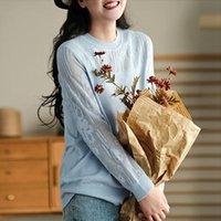 Johnature Primavera Molha Mulheres Roupas Vintage Oco Oco Para Fora De Manga Full Soft T-shirts 2021 Casual Tops Feminino T-shirt das Mulheres