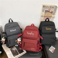 Backpack Personalized Embroidered Custom Name Large-capacity Anti-splash Water Shoulder Bag Trend Simple Solid Color Student