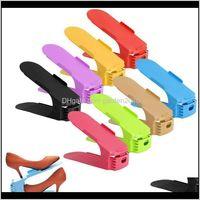 Holders Racks 10Pcs Durable Adjustable Shoe Organizer Footwear Support Slot Space Saving Cabinet Closet Stand Home Shoes Storage Rack 1S0Lr