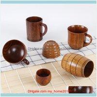 Drinkware Kitchen, Saving Bar Home Garden1 PZ Stile Giapponese in Legno Tazza di Legno Creativo Isolamento di legno Isolamento Tè Caffè Bere piattino tazze piattini DR