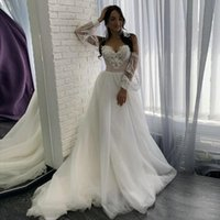 Sweetheart A Line Wedding Gowns with Applique Lace Long Sleeves Bride Formal Dress Sweep Train Tulle Robe De Marrige
