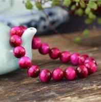 Natural Red Rose Tiger Eye Stone Beaded Bracelet Free Ship ping