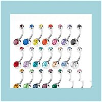 & Bell Jewelry Stainless Steel Belly Button Navel Rings Crystal Rhinestone Body Piercing Bars Jewlery For Womens Bikini Fashion Jewelry Drop