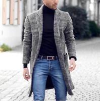 Men's Wool & Blends Plaid Mens Woolen Coat Young Winter Trendy Mid-length Men Overcoat Long Jacket