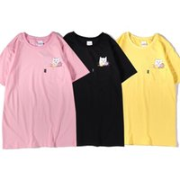 Maré marca ripndip bolso t-shirt t-shirt do dedo médio gato barato jovem estudante jovem rua