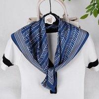 Scarves 2021 Fashion Kerchief Imitated Silk Satin Neck Scarf For Women Print Hijab Scarfs Female 70*70cm Square Shawls And Wraps