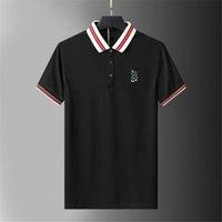 Poloshirt T-shirt Herren Schlangenstreifen Gestickte Druckbuchstabe Kurzarm Classic Business Hemd Hoodie Herren Hemd 100% Baumwolle M-3XL