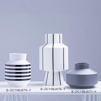 Modern Minimalist Black White Striped Ceramic Vase For Living Room Study Bedroom Hallway Dried Flower Pot Home Decorative Vases