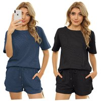T Shirt Women Two Piece Pants Casual Straight Leg Pant Mid Waist Round Neck Comfortable Durable Solid Color Lace Short Sleeve Loose 2 Pieces Set YCH