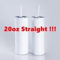 RECTO! 20 oz Sublimación en blanco Taza de acero inoxidable Taza recta personalizada con pajitas de metal Thermos Botellas de agua Tazas