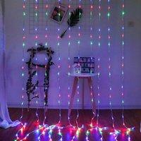 문자열 thisdar 6x3 / 3x6m 폭포 커튼 LED 요정 문자열 빛 garland 물 흐름 유성 샤워 비 창 고드름 장식