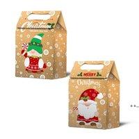 أكياس هدية عيد الميلاد سانتا أكياس كرافت ورقة حقيبة أطفال حزب تفضل مربع الإبداعية الأطراف لصالح لوازم الديكور FWE9581