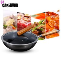 High Quality 34cm Household Flat Bottom Non- stick Wok Stainl...