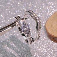 Never Fade 100% Originele 925 Sterling Ringen Set Vrouwen Niet Allergische Fijne Sieraden Clear 6mm Zirkoon Wedding Band Gift J-322