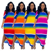 الجانب ارتفاع سبليت عارضة البوهيمي عطلة فساتين النساء rainbow شريط طباعة فضفاض شاطئ اللباس خمر الخامس الرقبة قصيرة الأكمام vestidos