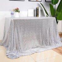 1 ADET Dikdörtgen / Yuvarlak Masa Örtüsü Kapak Pullu Gümüş / Gül Altın / Şampanya Masa Örtüsü Parti Ev Düğün Dekorasyon için Çok Boyutları