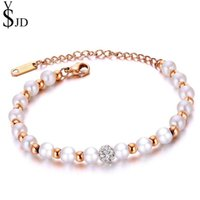 Classic Rose Gold Color Simulated Pearl Bracelets For Women Rhinestone Ball Wristband Bracelet Gifts Jewelry Bangle