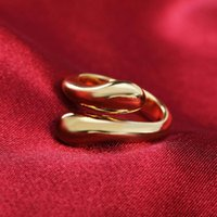Wedding Rings 925 Sterling Silver 18K Gold Ring Ladies Creative Adjustable Double Twist Drop Opening Fashion All-match Jewelry