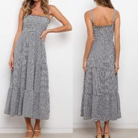 Casual Dresses Off Chest Wrapped With Sling Plaid Long Dress Robe Vintage Summer Light Zevity Strappy Boho Chiffon Exotic White