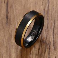 Zorcvens 2020 Moda Tungsteno Carburo Bandas de boda 6mm Línea de oro Anillo Negro Matte Terminado Compromiso Masculino Joyería