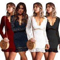 Повседневные платья Цуретобо Элегантное кружевное мини-платье Женщины сексуальные выпущенные осень