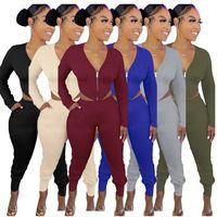 Women Clothing Yoga Jogger Suits 2 Piece Set Tracksuits S-2XL Solild Color Crop Sweatshirt Leggings Long Sleeve Black Outfits Fitness Biker Sportswear DHL 353