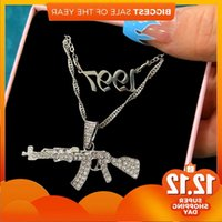 2Pcs Punk Shining Crystal Pistol AK47 Hangers for Women Men No 1997 Gun Bedels Multilayer Chain New Jewels