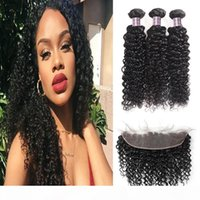 8-28 Indian Loose Wave 3 4 Bundles with Lace Frontal Closure Peruvian Deep Wave Kinky Curly Human Hair Bundles with Closure Body Straight