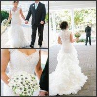 Lace Chiffon Cap Sleeves Mermaid Plus Size Wedding Dress With Ruffled Skirt vestidos de noivas estilo pricesa