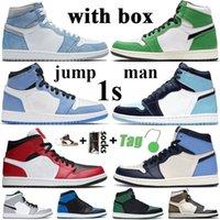 With Box Jumpman 1 High Basketball Shoes Mens 1s University Blue Hyper Royal Obsidian UNC Dark Mocha Twist Mid Chicago 여성 스니커즈 트레이너