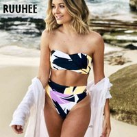 Ruhee New Bikini Купальники Женщины Высокая Талия Купальник Бикини Набор Bandage Купальный костюм Женщины Женщина Летний Пляж Пляж X0424