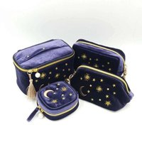 Sacchetti cosmetici Casi Kawaii Velvet Borsa da ricamo Borsa da viaggio Organizzatore di viaggio Donna Trucco Zipper Make up Sacchetto con Moon Star Tassel Deco