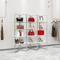 High grade clothing store creative shoe racks Commercial Furniture bags storage show rack shoes bag shop display hanging cabinet multi-layer simple shelf