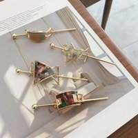 Hair Clips & Barrettes Elegant Japanese Style Women Accessories Geometric Shape Alloy Hairpins Vintage Clip Triangle Oval Metal Sticks