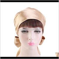 Beanie Skl Hats Caps Hats, Scarves & Gloves Fashion Aessories Satin Bow Headscarf Comfortable Slee Bonnet Curly Hair Womens Silk Scarf Head
