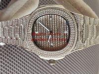 Orologi da uomo di lusso ETA Cal.9015 Mens Impermeabile Giallo Argento Giallo Full Diamond Bracelet Case Crystal 5711 Uomini 40mm trasparente