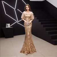 2021 Mermaid Evening Gowns Stunning Crystals Beading Chiffon A Line Prom Dresses with Long half sleeve Sexy Open Back Side Split Evening Dresses