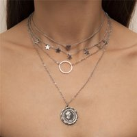 Relief Portrait Retro Heart Star Pendant Necklaces European Women Multi Layer Circle Ring Clavicle Chain Alloy Lovers Dress Gold Silver Necklace Jewelry Wholesale