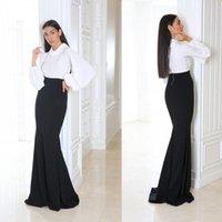 2020 Zwei Stück Anzug Meerjungfrau Abendkleider Chiffon Langarm Prom Dress Sweep Zug Sonderanlässe Kleider