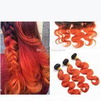 اثنين من لهجة اللون الإنسان الشعر البرتقال أومبير الدانتيل أمامي إغلاق T1B 350 البرتقالي الجسم موجة بيرو العذراء الشعر 3 حزم مع أمامي