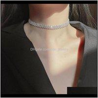 & Pendants Jewelryminar Luxury Sparkly Cz Zircon Chokers Necklaces For Women Sier Color Alloy Geometric Cubic Zirconia Necklace Jewellery Pen