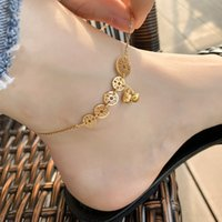 Fashion Bell Titanium steel Coin Anklets Female Money Duoduo Foot Chain Temperament Personality Tassel Color Gold Ankle Jewelry Anti Fading
