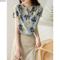 Women's Blouses & Shirts Silk Satin Loose Fashion Casual Short Sleeve Blusas Flowers V-neck Summer Houthion