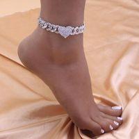 Fußklets Mode Hip Hop Kristall Herzförmige Fußkettchen für Frauen Armband Männer Miami Cuban Link Chunky Großhandel Fußkette ausgereift