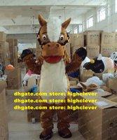 Nouvellement marron donkey mourse burro neddy cheval poney steed costume mascotte mascotte mascotte avec grosse bouche longue samll yeux n ° 381 gratuit navire