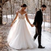 2021 A 라인 웨딩 드레스 겸손한 깎아 지른 목 레이스 탑 신부 가운 뒤쪽의 전체 길이 얇은 명주 그린 흰색 구슬