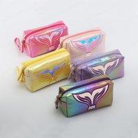 Fishtail Symphony Laser Cosmetic Bag Cartoon Clutch Women Fashion Travel Make Up Organizer Zipper Pouch Toiletry Beauty Wash Bag